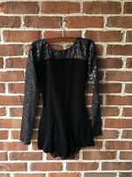 FIGURE ICE SKATING DRESS COSTUME ADULT L Large Black Sequin Long Sleeves