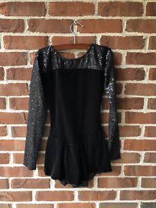 FIGURE ICE SKATING DRESS COSTUME ADULT L Large Black Sequin Long Sleeves