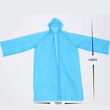 Women Lady Girls Hooded Transparent Raincoat Waterproof Poncho Long Sleeve Coat