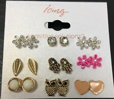 Set of 9 Pairs Spring Fling Stud Earrings Flowers, Owl, Heart + New Icing
