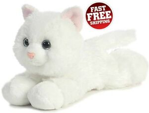 Realistic Cat Plush Toy White Stuffed Kitten Cuddle Kitty Fake Animal Toys Kids
