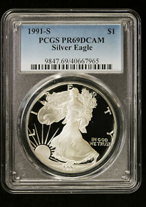 1991 S Proof Silver Eagle PCGS PR 69 DCAM