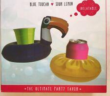Beverage Boats Toucan & Lemon Pool Floats Inflatable Drink Holder 2-Pack  New