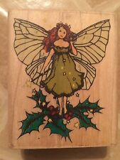 Enchanted Holly 111-E Winter Fairy w/ Wand Christmas Rubber Stampede Stamp