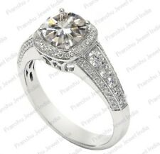 1.53Ct Off White Moissanite Halo Wedding Engagement Ring 925 Sterling Silver