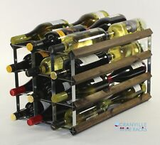 Double depth 24 bottle dark oak stained wood and metal wine rack ready to use