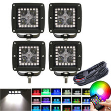 4x 3 inch 24W Offroad Led Work Light Spot Fog Pods Chasing RGB Halo & Wiring Kit