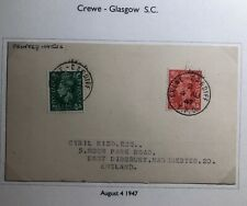 1947 Cardiff Crewe England Postcard Cover Traveling Post Office To Manchester