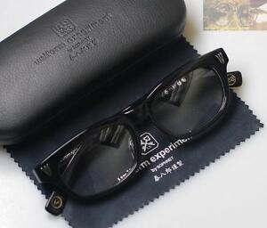 Vintage black eyeglasses mens Japan Hand Made acetate glasses frame RX lens