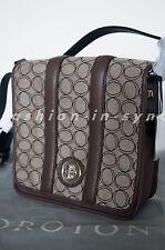 Oroton Contrast Signature Medium Satchel Crossbody Bag Brown BNWT RRP $395.00