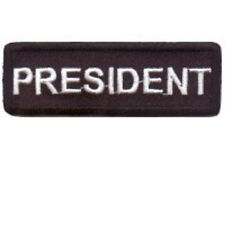 PRESIDENT BLACK 1 X 3 CLUB  EMBROIDEREDBIKER PATCH