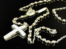 New Mens 10K Yellow Gold Rosary Genuine Diamond Necklace Chain