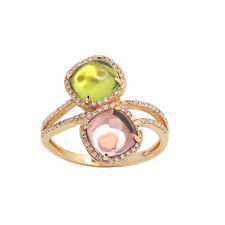 14K ROSE GOLD PAVE DIAMOND AMETHYST PERIDOT HALO COCKTAIL BYPASS  RING