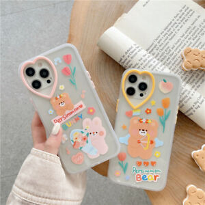 Cute Funny Flower Bear Clear Case Cover iPhone 11 Pro 12 Pro Max XR X S 7 8 Plus