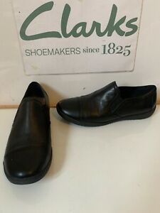 Clarks Comfy Black Leather Flat Shoes Size UK 6 EU 39.5