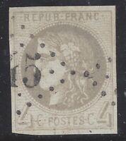 n°41B Bordeaux timbre classique 4c Gris R2 TB oblitéré GC 1870 - Signé Roumet