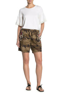 Johnny Was Beatriz Women's Shorts Plus 2X Camo Linen Floral Embroidered Shorts