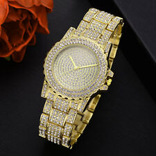 Men's Gold Plated simulated diamond hip hop rapper iced out Watch Wristwatch
