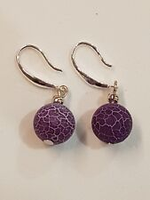 Purple Agate Natural Stone Sterling Silver Earrings