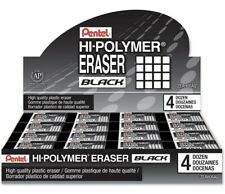Pentel Hi Polymer Erasers Black 48 Count Zeah06aq