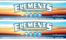 2x Elements King Size Rolling Papers Slim Connoisseur W/Tips USA Shipper
