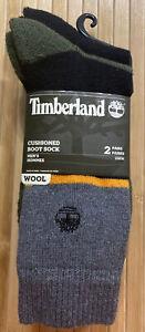 NEW Timberland Men's Wool Boot Socks 2 Pair Green, Black and Gray OSFM