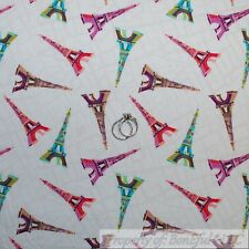 BonEful Fabric FQ Cotton Quilt VTG White Pink Rain*bow Color French Eiffel Tower