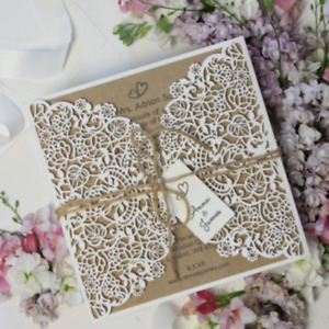 RUSTIC DIY LASER CUT WEDDING INVITATIONS WITH ENVELOPES FREE SHIPPING + TEMPLATE