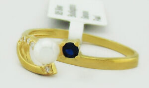 GENUINE PEARL, BLUE & WHITE SAPPHIRES RING .925 Silver  NWT SIZE 6