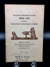 Vintage Old Penny Mechanical Banks Price List Miller ~ Guide Book Illustrated