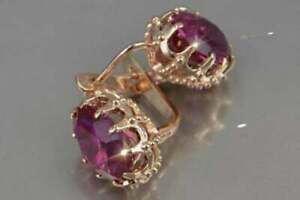 2Ct Oval Cut Red Ruby Diamond Solitaire Hoop Earrings 14K Yellow Gold Finish