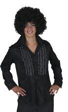 Rüschenhemd Herren schwarz Gr.48-58 Rüschen Hemd 70-er Hippie Karneval Fasching