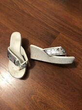 White Silver Sequin Wedge Thongs