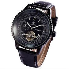 New Black Dial STEAMPUNK Automatic Mechanical Tourbillon Leather Men's Watch C