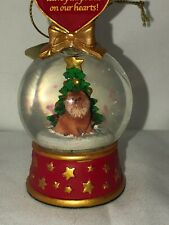 Rare Danbury Pomeranian Dog Christmas Ornament Leave Paw prints Hearts ! #6