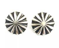 Native American Sterling Silver Navajo Handmade Old Look Post Earrings