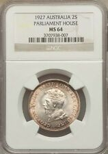 AUSTRALIA  1927  1 FLORIN SILVER COIN, CHOICE UNCIRCULATED CERTIFIED NGC MS-64
