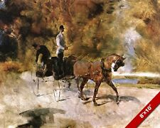 """THE CHAISE """"DOG"""" CAR HORSE CARRIAGE RACING PAINTING FRENCH ART REAL CANVAS PRINT"""