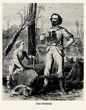 WESTERN PIONEER AND SON, LOG CABIN CHICKENS CUTTING TIMER 1868 PRINT