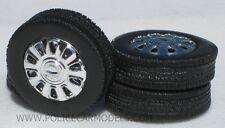 1/24 - 1/25  Ford 10 Spoke Chrome Rim & Tire Set For Model Police Cars #1537