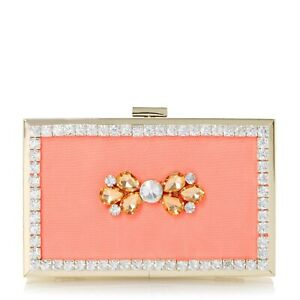 NEW DUNE Head Over Heels Coral Gold Embellished Box Bag Clutch Chain Diamante