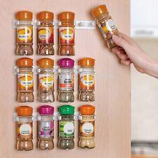 2PCs 5 Hooks/1PC White Spice Wall Rack Storage Plastic Kitchen Organizer