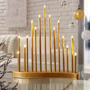 LED Lichterbogen Advent Weihnachtsleuchter S-Bogen Dekoleuchte XMAS Gold SL22-1