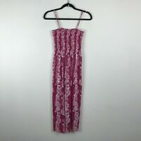Vintage Baba Hawaiian Dress Size M Pink Floral Stretch Top Polyester Midi Womens