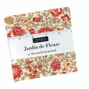 Moda Jardin De Fleurs Charm Pack Fabric  By French General Quilting Sewing Craft