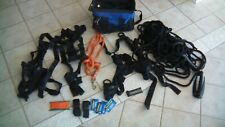 Rock Climbing Equipment - 3 Harnesses, Rope, Hook and Bag plus more