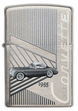 Zippo Chevrolet Corvette 1955 C1 brushed Chrome Custom Lighter Very Rare NEW