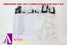 Complete Black Fairing Bolt Kit body screws for Honda CBR600RR 2007-2011