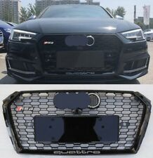 For Audi A4 RS4 2017-2018 B9 RS4 Grille Mesh Quattro Gloss Black + Chrome Emblem