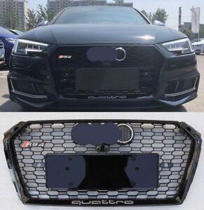 For Audi A4 RS4 2017-2018 B9 RS4 Grille Mesh Quattro Gloss Black + Chrome Emblem